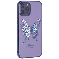 """Чехол-накладка KINGXBAR для iPhone 12 Pro Max (6.7"""") пластик со стразами Swarovski синий (Бабочка)"""
