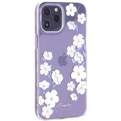 """Чехол-накладка KINGXBAR для iPhone 12 Pro Max (6.7"""") пластик со стразами Swarovski прозрачная с силиконовыми бортами (Цветы 1)"""