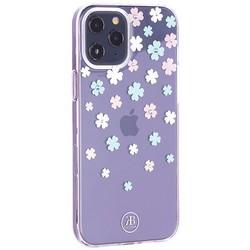 """Чехол-накладка KINGXBAR для iPhone 12 Pro Max (6.7"""") пластик со стразами Swarovski прозрачная с силиконовыми бортами (Цветы 3)"""