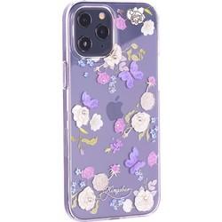 """Чехол-накладка KINGXBAR для iPhone 12 Pro Max (6.7"""") пластик со стразами Swarovski прозрачная с силиконовыми бортами (Цветы 4)"""
