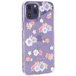 """Чехол-накладка KINGXBAR для iPhone 12 Pro Max (6.7"""") пластик со стразами Swarovski прозрачная с силиконовыми бортами (Цветы 5)"""