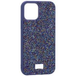 "Чехол-накладка силиконовая со стразами SWAROVSKI Crystalline для iPhone 12/ 12 Pro (6.1"") Темно-синий №5"