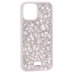 """Чехол-накладка силиконовая со стразами SWAROVSKI Crystalline для iPhone 12 Pro Max (6.7"""") Светло-серый №2"""
