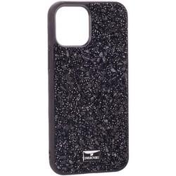 """Чехол-накладка силиконовая со стразами SWAROVSKI Crystalline для iPhone 12 Pro Max (6.7"""") Черный №6"""