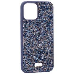 "Чехол-накладка силиконовая со стразами SWAROVSKI Crystalline для iPhone 12 Pro Max (6.7"") Темно-синий №3"
