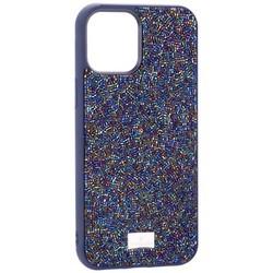 "Чехол-накладка силиконовая со стразами SWAROVSKI Crystalline для iPhone 12 Pro Max (6.7"") Темно-синий №5"