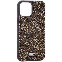 """Чехол-накладка силиконовая со стразами SWAROVSKI Crystalline для iPhone 12 Pro Max (6.7"""") Черно-золотой"""