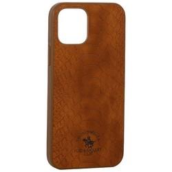 "Накладка кожаная Santa Barbara Polo&Racquet Club Knight Series для iPhone 12/ 12 Pro (6.1"") Коричневая"