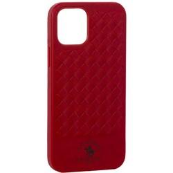 """Накладка кожаная Santa Barbara Polo&Racquet Club Ravel Series для iPhone 12/ 12 Pro (6.1"""") Красная"""