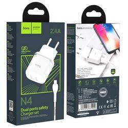 Адаптер питания Hoco N4 Aspiring dual port charger с кабелем Lightning (2USB: 5V max 2.4A) Белый