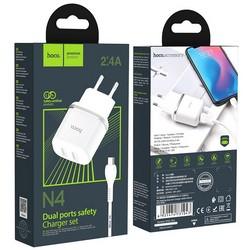 Адаптер питания Hoco N4 Aspiring dual port charger с кабелем MicroUSB (2USB: 5V max 2.4A) Белый