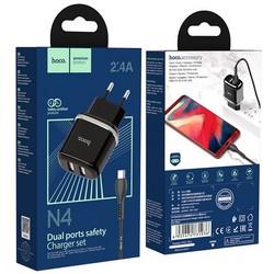 Адаптер питания Hoco N4 Aspiring dual port charger с кабелем MicroUSB (2USB: 5V max 2.4A) Черный