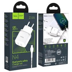 Адаптер питания Hoco N4 Aspiring dual port charger с кабелем Type-C (2USB: 5V max 2.4A) Белый