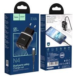 Адаптер питания Hoco N4 Aspiring dual port charger с кабелем Type-C (2USB: 5V max 2.4A) Черный