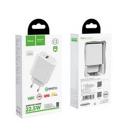Адаптер питания Hoco C69A Dynamic power fully compatible PD+QC 3.0 charger (USB: 5V max 4.0A/22.5Вт) Белый