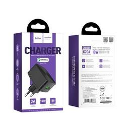 Адаптер питания Hoco C70A Cutting-edge single port QC3.0 (USB: 5V max 3.0A/18Вт) Черный