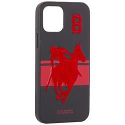 """Накладка кожаная Santa Barbara Polo&Racquet Club SPGNE Series для iPhone 12/ 12 Pro (6.1"""") Черная"""