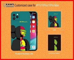 "Чехол-накладка силикон Luxo для iPhone 11 Pro Max (6.5"") 0.8мм с флуоресцентным рисунком KAWS J45"
