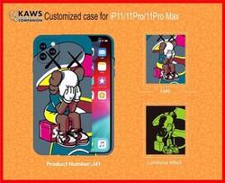 """Чехол-накладка силикон Luxo для iPhone XS Max (6.5"""") 0.8мм с флуоресцентным рисунком KAWS J41"""