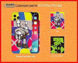 "Чехол-накладка силикон Luxo для iPhone 11 Pro Max (6.5"") 0.8мм с флуоресцентным рисунком KAWS J40"