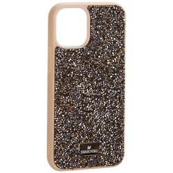 """Чехол-накладка силиконовая со стразами SWAROVSKI Crystalline для iPhone 12 mini (5.4"""") Оливковый №2"""