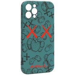 "Чехол-накладка силикон Luxo для iPhone 12 Pro (6.1"") 0.8мм с флуоресцентным рисунком KAWS Зеленый KS-22"