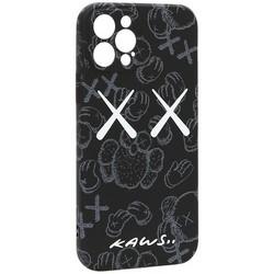 """Чехол-накладка силикон Luxo для iPhone 12 Pro (6.1"""") 0.8мм с флуоресцентным рисунком KAWS Черный KS-23"""