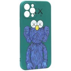 "Чехол-накладка силикон Luxo для iPhone 12 Pro (6.1"") 0.8мм с флуоресцентным рисунком KAWS Зеленый KS-15"