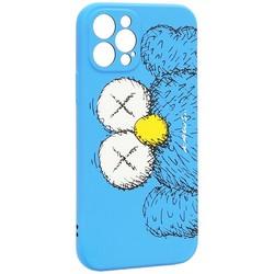 """Чехол-накладка силикон Luxo для iPhone 12 Pro (6.1"""") 0.8мм с флуоресцентным рисунком KAWS Синий KS-26"""