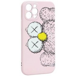 "Чехол-накладка силикон Luxo для iPhone 12 Pro (6.1"") 0.8мм с флуоресцентным рисунком KAWS Розовый KS-27"
