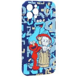 """Чехол-накладка силикон Luxo для iPhone 12 Pro (6.1"""") 0.8мм с флуоресцентным рисунком KAWS Синий J56"""