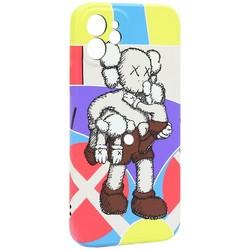 "Чехол-накладка силикон Luxo для iPhone 12 (6.1"") 0.8мм с флуоресцентным рисунком KAWS J40"