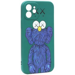 "Чехол-накладка силикон Luxo для iPhone 12 (6.1"") 0.8мм с флуоресцентным рисунком KAWS Зеленый KS-15"