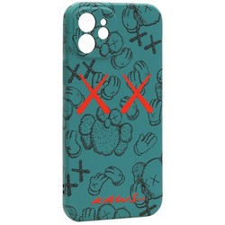 "Чехол-накладка силикон Luxo для iPhone 12 (6.1"") 0.8мм с флуоресцентным рисунком KAWS Зеленый KS-22"