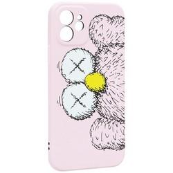 "Чехол-накладка силикон Luxo для iPhone 12 (6.1"") 0.8мм с флуоресцентным рисунком KAWS Розовый KS-27"