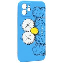 """Чехол-накладка силикон Luxo для iPhone 12 (6.1"""") 0.8мм с флуоресцентным рисунком KAWS Синий KS-26"""