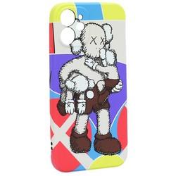 """Чехол-накладка силикон Luxo для iPhone 12 mini (5.4"""") 0.8мм с флуоресцентным рисунком KAWS J40"""