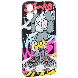 """Чехол-накладка силикон Luxo для iPhone 12 mini (5.4"""") 0.8мм с флуоресцентным рисунком KAWS J46"""