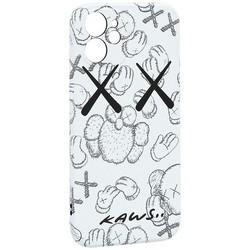 """Чехол-накладка силикон Luxo для iPhone 12 mini (5.4"""") 0.8мм с флуоресцентным рисунком KAWS Белый KS-24"""