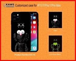 """Чехол-накладка силикон Luxo для iPhone 11 Pro Max (6.5"""") 0.8мм с флуоресцентным рисунком KAWS Черный KS-13"""