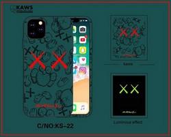 "Чехол-накладка силикон Luxo для iPhone XS/ X (5.8"") 0.8мм с флуоресцентным рисунком KAWS Зеленый KS-22"