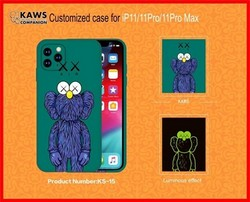 "Чехол-накладка силикон Luxo для iPhone 11 Pro Max (6.5"") 0.8мм с флуоресцентным рисунком KAWS Зеленый KS-15"