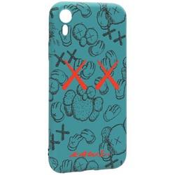 "Чехол-накладка силикон Luxo для iPhone XR (6.1"") 0.8мм с флуоресцентным рисунком KAWS Зеленый KS-22"