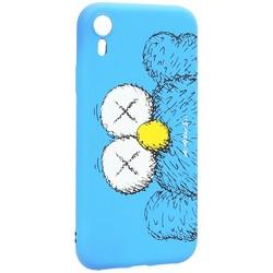 """Чехол-накладка силикон Luxo для iPhone XR (6.1"""") 0.8мм с флуоресцентным рисунком KAWS Синий KS-26"""