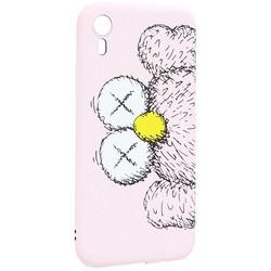 "Чехол-накладка силикон Luxo для iPhone XR (6.1"") 0.8мм с флуоресцентным рисунком KAWS Розовый KS-27"