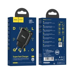 Адаптер питания Hoco N6 Charmer dual port QC3.0 charger (2USB: 5V max 3.0A) 18W Черный