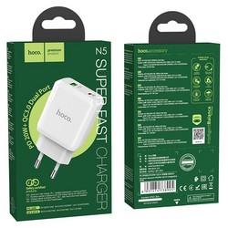 Адаптер питания Hoco N5 Favor dual port PD+QC 3.0 charger (USB: 5V max 3.0A/ 20Вт) Белый
