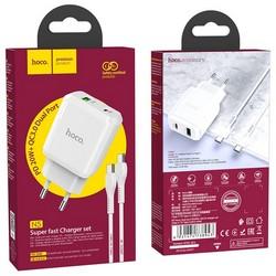 Адаптер питания Hoco N5 Favor dual port PD+QC 3.0 charger с кабелем Type-C to Type-C (USB: 5V max 3.0A/ 20Вт) Белый