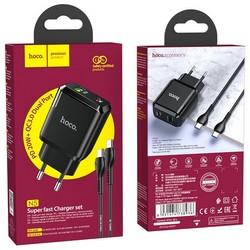 Адаптер питания Hoco N5 Favor dual port PD+QC 3.0 charger с кабелем Type-C to Type-C (USB: 5V max 3.0A/ 20Вт) Черный