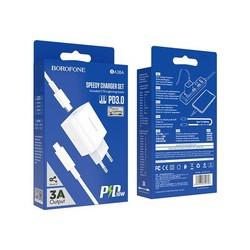 Адаптер питания BOROFONE BA38A Speedly PD+QC 3.0 fast Charger Type-C to Lightning (USB-C: 5V max 3.0A/ 20Вт) Белый